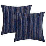 Yeiotsy Decorative Pillow Covers Teal, Pack of 2, Modern Striped Throw Pillow Cases Geometric Cushion Covers (Teal, 18 X 18 Inches)