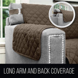 Sofa Shield Original Patent Pending Reversible Chair Protector for Seat Width to 23 Inch, Furniture Slipcover, 2 Inch Strap, Chairs Slip Cover Throw for Pets, Cats, Armchair, Quatrefoil Charcoal Linen