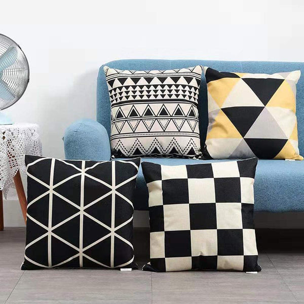 Boryard Throw Pillows Cover Set of 4 Geometric Print, Decorative Couch Throw Pillows Case 18 x 18 Inches