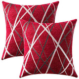 MIULEE Pack of 2 Decorative Throw Pillow Covers Woven Textured Chenille Cozy Modern Concise Soft Red Square Cushion Shams for Bedroom Sofa Car 18 x 18 Inch