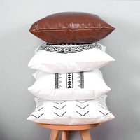 HoneiLife Throw Pillow Cover Set - Decorative Pillow Cases for Couch & Sofa,Modern Design Cushion Covers for Bed & Home Decor,100% Cotton Stripes Geometric Faux Leather Amaro Set