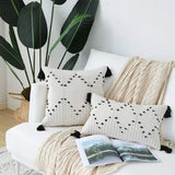 "Boho Pillow with Tassels, Cotton Woven Throw Pillow Cover Square 18""x18"" for Sofa Bedroom Living Room"
