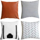 Vanky Modern Decorative Throw Pillow Covers Stylish Neutrals Cushion Covers Geometric Stripes Faux Leather Suitable for Sofa Bedroom 18 x 18 Inch,Set of 4