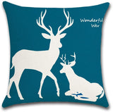 MELOODY 18x18 Inch Throw Pillow Covers Blue White Animal Geometric Cotton Line Indoor Outdoor Decorative Cushion Couch Sofa Square Deer Pillow Cover Case Set of 4