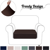 Granbest High Stretch Couch Cushion Cover Rhombus Jacquard Fabric Sofa Seat Slipcovers Protectors (Chocolate, Chair)
