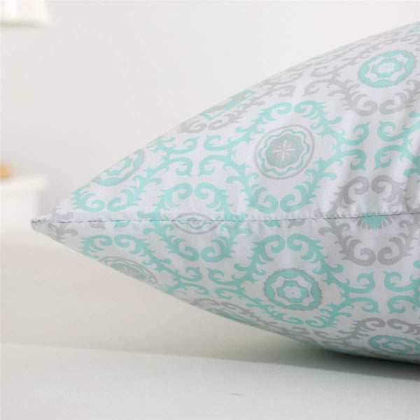 "Vonty Floral Printed Pillowcase Queen Size, Brushed Microfiber Mint Green Pillowcase Set 20""x30"""