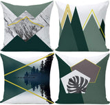 Wilproo Blackish Green Geometric Square Abstract Decorative Mountain Throw Pillow Covers 18 x 18 inches Cotton Linen Cushion Covers Set of 4