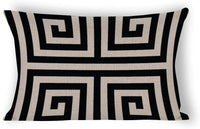 Yilooom Chic Black and White Greek Key Geometric Patterns Rectangle Decorative Cotton Linen Throw Pillow Case Cushion Cover Lumbar Pillowcase for Couch Sofa Bed 12 X 18 Inches