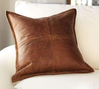 Leather Lovers 100% Lambskin Leather Pillow Cover - Sofa Cushion Case - Decorative Throw Covers for Living Room & Bedroom - 18x18 Inches - Antique Brown Pack of 1