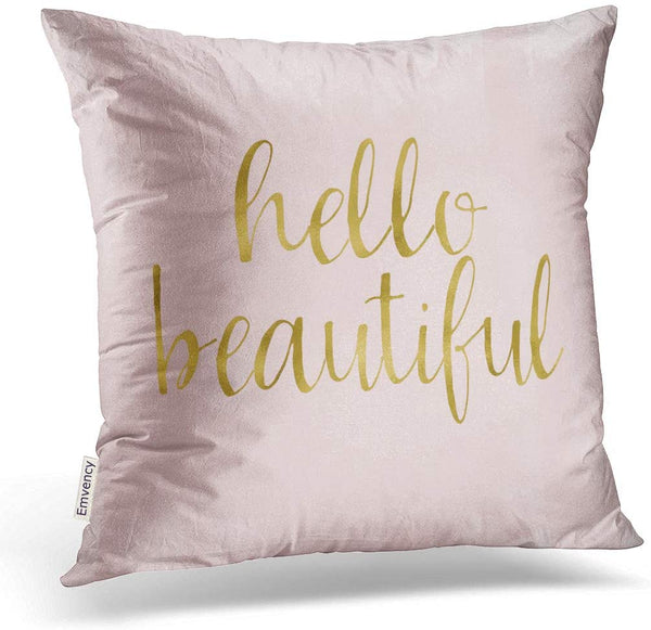 Emvency Throw Pillow Cover Pink Gold Watercolor Hello Beautiful Decorative Pillow Case Girly Home Decor Square 20 x 20 Inch Cushion Pillowcase