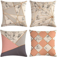 Homyall Geometric Decorative Pillow Covers Cotton Linen Triangle Throw Pillow Covers Set of 4 Square Rhombus Cushion Covers 18x18 inch, 4 Packs (Geometry)