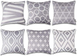HOMFREEST Grey Pillow Covers 18x18 Decorative Square Pillow Covers for Home Couch Sofa Geometric Decor, Set of 6