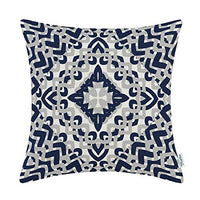CaliTime Canvas Throw Pillow Cover Case for Couch Sofa Home Decoration Modern Geometric Compass 18 X 18 Inches Navy Blue Grey