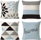 INSHERE 4 Pack Throw Pillow Covers Modern Simple Geometric Style Decorative Square Pillowcases Cotton Linen Cushion Cover 18 X 18 Inch (Set of 4 Geometric Blue)