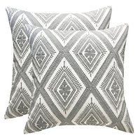SLOW COW Cotton Embroidery Decorative Throw Pillow Covers Geometric Invisible Zipper Cushion Covers for Living Room, 18x18 Inch, Set of 2