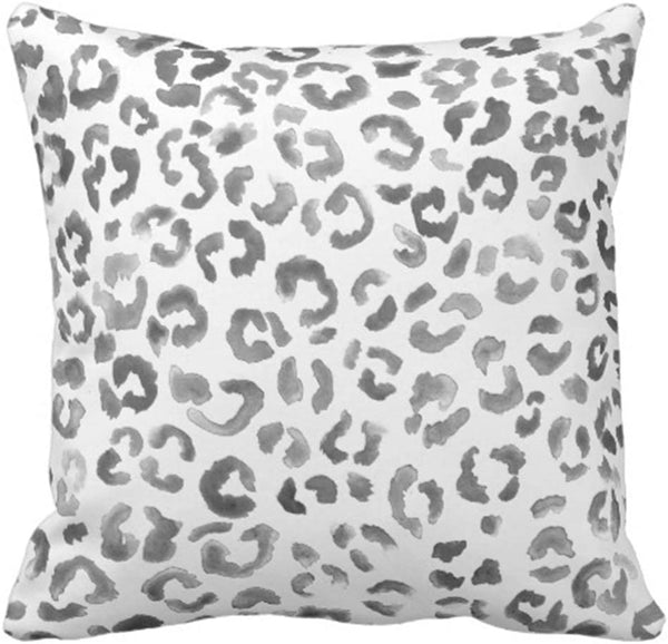 Emvency Throw Pillow Cover Leopard Print Pattern Black Watercolor Hand Paint Decorative Pillow Case Animal Home Decor Square 18 x 18 Inch Cushion Pillowcase