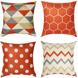 WLNUI Set of 4 Pillow Covers,18x18 Pillow Cover Red Orange Modern Simple Geometric Style Soft Linen Burlap Square Decor Decorative Throw Pillow Covers