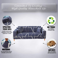 TOYOUN Stretch Sofa Cover 1 Piece Couch Cover Sofa Slipcover for 3 Cushion Couch Geometric Printed Form Fit Furniture Protector for Living Room Pets L Sectional Sofa Covers Corner Sofa Slipcover White