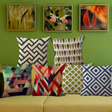 ChezMax Linen Blend Colorful Abstract Geometrical Cushion Cover Cotton Pillowslip Square Decorative Throw Pillow Case 18 X 18''