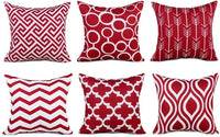JCarry Throw Pillow Cover 18x18 Set of 6, Geometric Pattern Pillow Cases, Super Soft Cotton Blend Cushion Cover, Home Decorative Pillow Cover for Living Room Bedroom Car Sofa, 45x45cm (Red)
