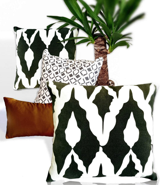 "Basik Nature Throw Pillow Covers 18x18. Amazing Decorative Throw Pillows Set of 4 Made of 100% Cotton Ethnic Pattern & Faux Leather Lumbar Pillowcase 9""x18"" for Couch/Bed Boho Modern Farmhouse Accent"