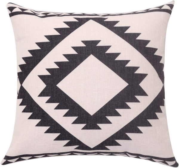 BreezyLife Aztec Throw Pillow Cover Geometric Decorative Pillow Case Square Linen Cushion Cover for Sofa Couch Farmhouse Outdoor Housewarming Gift 18X18 Inches