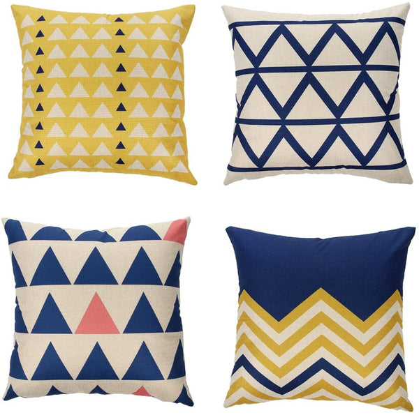 "Ogiselestyle Cotton Linen Home Decorative Throw Pillow Case Cushion Cover for Sofa Couch Modern Geometric Art Print 18""x18"" Set of 4 (Geometric)"