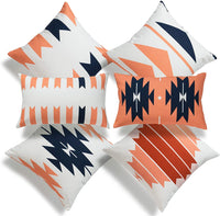 "Hofdeco Boho Style Decorative Throw Pillow Cover ONLY, Southwestern Tribal Aztec Pillow, Navy Blue Coral Orange Geometric, 18""x18"" 12""x20"", Set of 6"