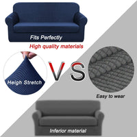 Chelzen Stretch Sofa Covers Living Room 2-Piece Couch Covers Striped Furniture Protectors Spandex Fabric Dog Sofa Slipcovers (Sofa, Navy Blue)