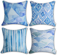 CARRIE HOME Watercolor Navy Blue Geometric Decorative Throw Pillow Covers 18x18 Modern Decor for Couch Sofa and Room, Set of 4