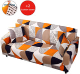TWINRUN Stretch Couch Cover Spandex Sofa Slipcover Anti-Slip Furniture Protector for Sofa-4 Seater with 2 Cushion Covers (Geometric,Oversize Sofa)