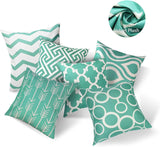 SYOSIN Throw Pillow Covers Set of 6 Modern Geometric Pattern Decorative Throw Pillow Case Cushion Case for Room/Bedroom/Room/Sofa/Chair/Car, Green and White, 18 x 18 Inch (Green)