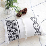 "Black White Throw Pillow Cover, Decorative Boho Lumbar Pillow with Tassels, 12""x20"" Farmhouse Cute Pillow Cover for Bed Sofa Couch"