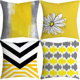 Youngnet Yellow Pineapple Leaf Geometric Cushion Covers Cotton Blend Home Decorative Pillowcase for Couch Sofa 18x18 Inches, Set of 4 (B)