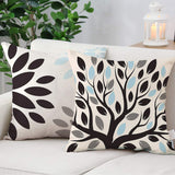 LOTMONY Modern Abstract Geometric Throw Pillows Decorative Outdoor Patio Sofa Cushions Covers Square Linen Room Home Decor Tree Leaf Creamy-White Mediterranean Style Pillowcase 18 x 18 Inch Pack of 4