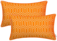BRAWARM Pack of 2 Cozy Velvet Bolster Pillow Covers Cases for Couch Bed Sofa Elegent Chevron Geometric Figure with Piping Both Sides for Home Decoration 12 X 20 Inches Turmeric