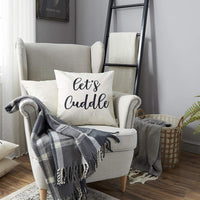 Meekio Farmhouse Pillow Covers with Let's Cuddle Quote 18 x 18 Inch for Farmhouse Bedding Décor