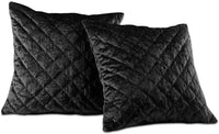 "Chezmoi Collection Nina Premium Heavy Velvet Modern Diamond Pattern Decorative Square Throw Pillow Cushion Cover (Black, 18"" x 18"") Set of 2"