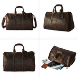 BRASS TACKS Leathercraft Men's Genuine Leather Utility Classic Doctor Duffel Weekend Work Bag w/Shoulder Strap