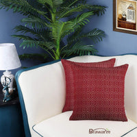 BRAWARM Pack of 2 Soft Jacquard Throw Pillow Covers Cases for Couch Sofa Home Decoration Geometric Chevron Figure 20 X 20 Inches Burgundy
