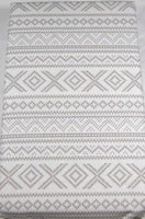 Lauren Standard Pillowcases Geometric Design 100% Cotton White and Light Gray Set of 2