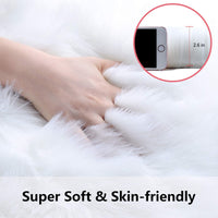 Softlife Square Faux Fur Sheepskin Chair Cover Seat Cushion Pad Super Soft Area Rugs for Living Bedroom Sofa (1.6ft x 1.6ft, White)