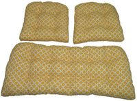 Resort Spa Home Decor 3 Piece Wicker Cushion Set - Yellow and White Geometric Hockley Indoor/Outdoor Fabric Cushion for Wicker Loveseat Settee & 2 Matching Chair Cushions