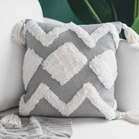 blue page Lumbar Small Decorative Throw Pillow Covers 12X20 Inch for Couch Sofa Bedroom Living Room, Woven Tufted Boho Pillows Cover with Tassels, Cute Grey Farmhouse Pillows Case