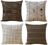WOMHOPE Set of 4 Colorful Geometric Throw Pillow Covers Decorative Burlap Toss Pillowcases Square Cushion Cases 18 x 18 Inch for Living Room,Couch,Bed (Brown (Set of 4 pcs))