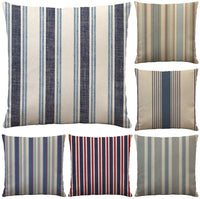 6 Pack Outdoor Cushion Covers Cozy Dark Blue/Red/White/Green Striped Geometric Couch Decoratvie Throw Pillow Set 18x18 Inches Pillow Protectors