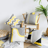 "LANANAS Throw Pillow Covers Modern Decorative Geometric Home Cushion Cover for Couch Sofa Bed 18 Inch Set of 2 (18"" x 18"", Grey-Yellow) … (18""x18"", Grey-Yellow)"