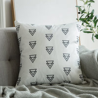 MIULEE Set of 4 Decorative Geometric Pillow Covers Modern Cotton Cushion Covers European Style for Couch Bed Sofa 18x18 Inch 45x45 cm
