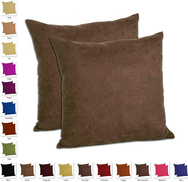 "MoonRest - Set of 2 Microfiber Decorative Pillow, Fully Assembled with Hidden Zipper Filled with Synthetic Down Pillow Inserts (16""x16"", Chocolate)"