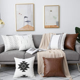 DEZENE 6 Pack Decorative Throw Pillow Covers for Sofa Couch Bed, 18 x 18 Inch 100% Cotton Modern Geometric White Cushion Covers and Faux Leather Square Pillow-Cases (Black and Brown)